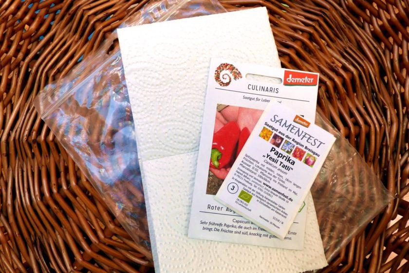 Samen vorkeimen Zubehör: Zip-Tütchen und Küchenpapier