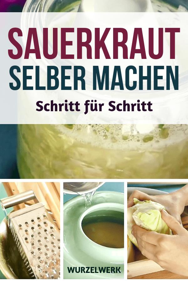 Sauerkraut selber machen: Hier ist eine Anleitung, mit der du gelingsicher und einfach Sauerkraut herstellen kannst, sowohl im Gärtopf / Steintopf als auch im Glas. #Haltbarmachen #Gesund #Wurzelwerk #Rezept