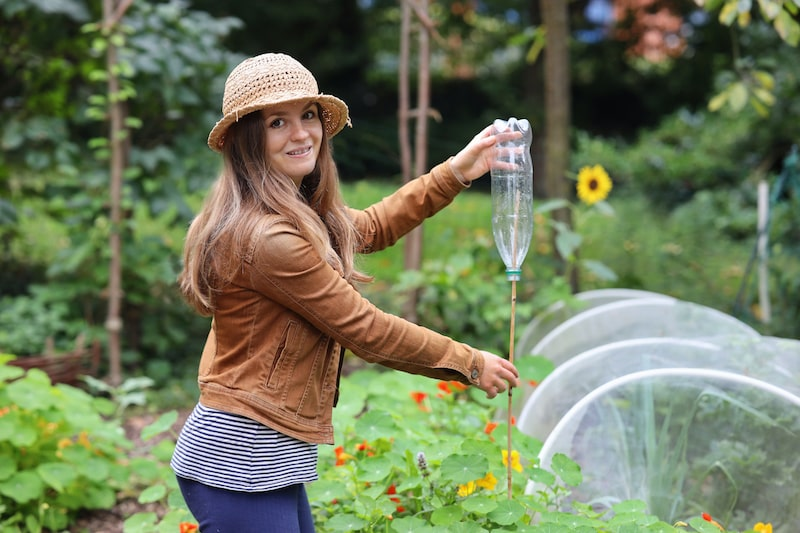 Garten-Hack Plastikflasche mit Stock